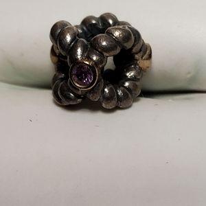 Pandora Sterling silver  & CZ stones charm bead
